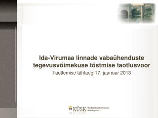 Ida-Virumaa linnade vabaühenduste tegevusvõimekuse tõstmise  taotlusvoor