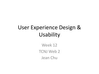 User Experience Design & Usability