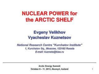NUCLEAR POWER for  the ARCTIC SHELF
