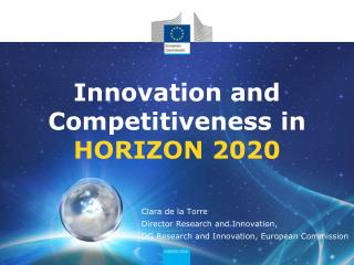 Innovation and Competitiveness  in HORIZON 2020