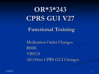 OR3243  CPRS GUI V27  Functional Training