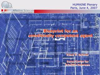 HUMAINE Plenary Paris, June 4, 2007