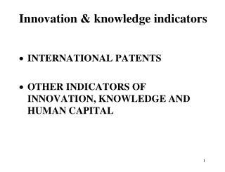 Innovation & knowledge indicators