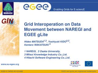 Grid Interoperation on Data Movement between NAREGI and EGEE gLite