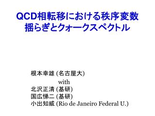 QCD 相転移における秩序変数 揺らぎとクォークスペクトル