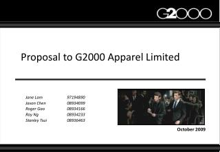 Proposal to G2000 Apparel Limited