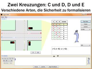 Zwei Kreuzungen: C und D, D und E Verschiedene Arten, die Sicherheit zu formalisieren