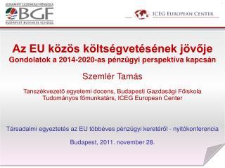Az EU közös költségvetésének jövője Gondolatok a 2014-2020-as pénzügyi perspektíva kapcsán