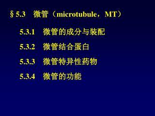 §5.3  微管( microtubule , MT )