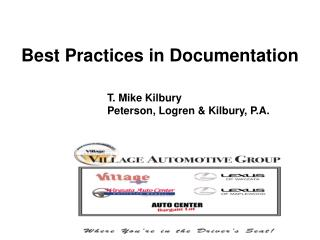 Best Practices in Documentation