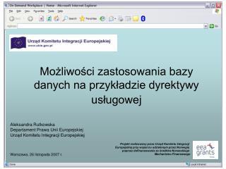 Możliwości zastosowania bazy danych na przykładzie dyrektywy usługowej
