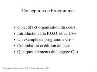 Conception de Programmes