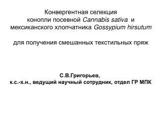 С.В.Григорьев,  к.с.-х.н., ведущий научный сотрудник, отдел ГР МПК