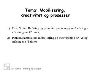 Tema: Mobilisering, kreativitet og prosesser