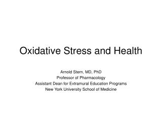 Oxidative Stress and Health