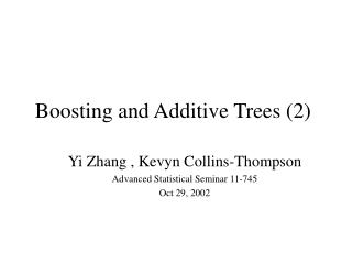 Boosting and Additive Trees 2