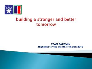 building a stronger and better tomorrow
