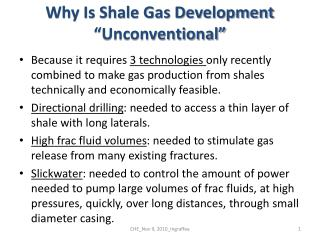 Why Is Shale Gas Development  Unconventional