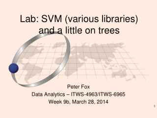 Lab: SVM (various libraries) and a little on trees