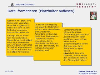 Datei formatieren (Platzhalter aufl�sen)