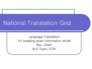 National Translation Grid
