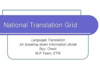 National Translation Grid