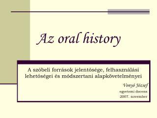 Az oral history