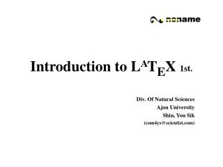 Introduction to L A T E X  1st.