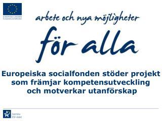 Europeiska socialfonden stöder projekt  som främjar kompetensutveckling  och motverkar utanförskap
