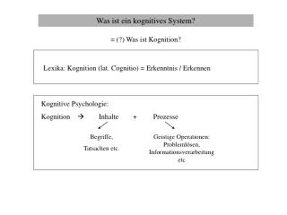 Was ist ein kognitives System?