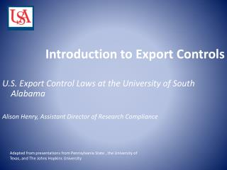 Introduction to Export Controls