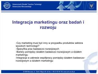 Integracja marketingu oraz badań i rozwoju