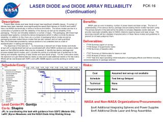 LASER DIODE and DIODE ARRAY RELIABILITY Continuation