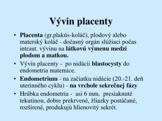 Vývin placenty