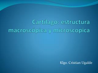 Cartílago: estructura macroscópica y microscopica