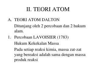II. TEORI ATOM