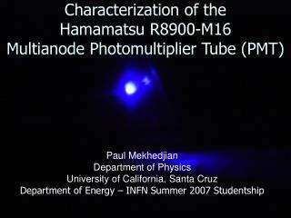 Characterization of the  Hamamatsu R8900-M16  Multianode Photomultiplier Tube (PMT)