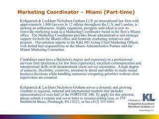 Marketing Coordinator – Miami (Part-time)