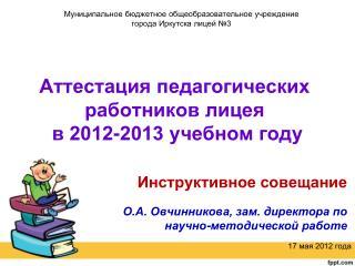 Аттестация педагогических работников лицея  в 2012-2013 учебном году