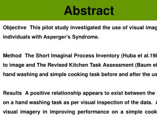 The Use of Visual Imagery in  Asperger's Syndrome