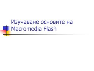 Изучаване основите на  Macromedia Flash