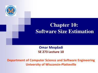 Chapter 10:   Software Size Estimation