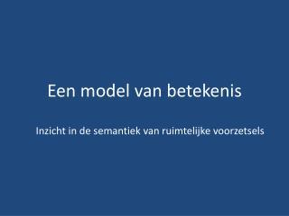 Een model van betekenis