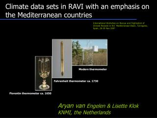 Climate data sets in RAVI with an emphasis on the Mediterranean countries