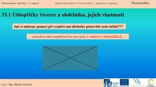 33.1  Úhlopříčky čtverce a obdélníku, jejich vlastnosti