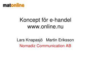 Koncept för e-handel online.nu