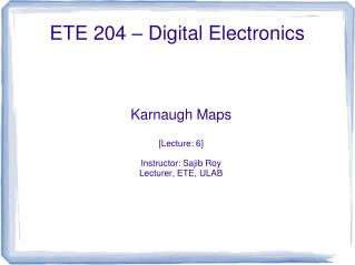 ETE 204 – Digital Electronics