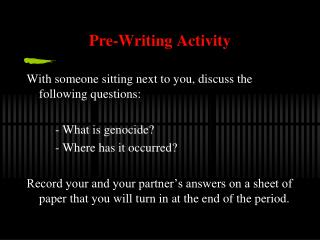 Pre-Writing Activity