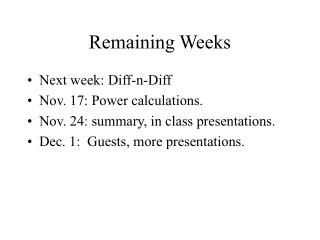 Remaining Weeks