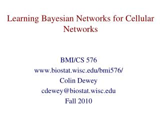 Learning Bayesian Networks for Cellular Networks